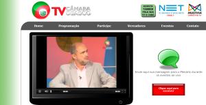 Tela na web da TV Câmara de Osasco